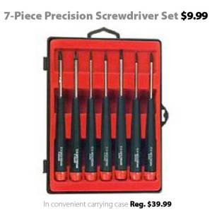 deal of the week jan 18th 2013 7 piece precision screwdriver set for connecting. Black Bedroom Furniture Sets. Home Design Ideas