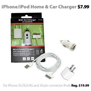Mini 3-in-1 charger for iPod and iPhone for $7.99
