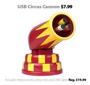 USB Circus Cannon with three rockets and circus net