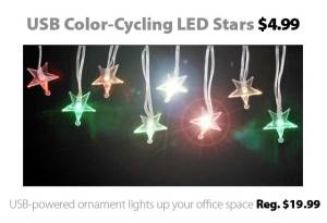 USB-Powered Chain of Color-Cycling LED Stars