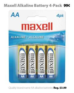 Maxell AA Alkaline Batteries - 4-Pack