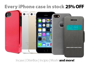 All iPhone cases in stock are 25% off