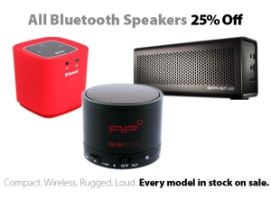 25% off all Bluetooth speakers in stock
