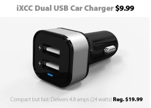 iXCC Dual USB Car Charger for $9.99 from Connecting Point Computer Centers