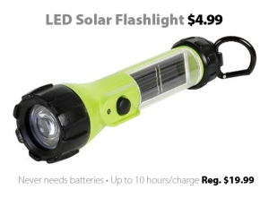 LED Solar Flashlight for $4.99