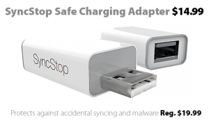 SyncStop Safe Charging USB Adapter, on sale at Connecting Point for $14.99