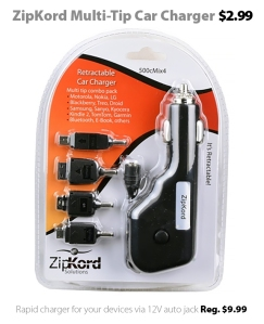 ZipKord 500CMIX4 Retractable Multi-Tip Car Charger for $2.99