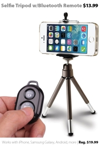 Selfie tripod with Bluetooth remote for smartphones - just $13.99 at Connecting Point