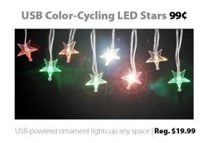 Color-cycling USB-powered LED stars for 99 cents (reg. $19.99)