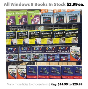 All Windows 8 books in stock on sale for $2.99 (reg. $14.99 - $29.99)